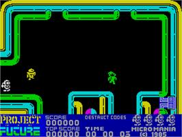In game image of Project Future on the Sinclair ZX Spectrum.