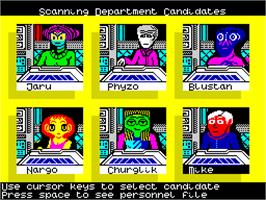 In game image of Psi-5 Trading Company on the Sinclair ZX Spectrum.
