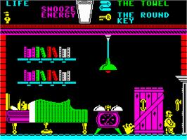 In game image of Pyjamarama on the Sinclair ZX Spectrum.