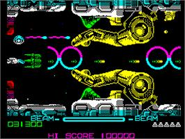In game image of R-Type on the Sinclair ZX Spectrum.