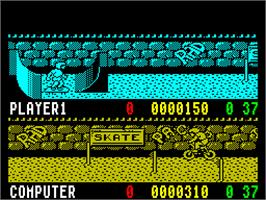 In game image of Rad Ramp Racer on the Sinclair ZX Spectrum.