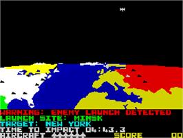 In game image of Raid Over Moscow on the Sinclair ZX Spectrum.