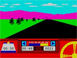 In game image of Rally Driver on the Sinclair ZX Spectrum.