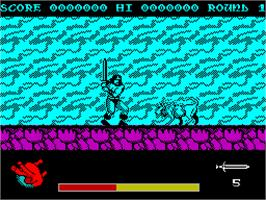 In game image of Rastan on the Sinclair ZX Spectrum.