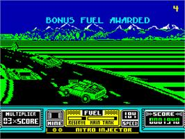 In game image of RoadBlasters on the Sinclair ZX Spectrum.