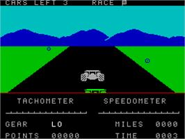 In game image of Road Raider on the Sinclair ZX Spectrum.