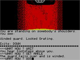 In game image of Robin of Sherwood: The Touchstones of Rhiannon on the Sinclair ZX Spectrum.