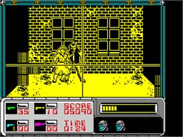 In game image of RoboCop on the Sinclair ZX Spectrum.