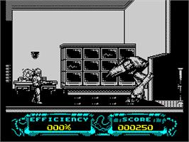 In game image of RoboCop 3 on the Sinclair ZX Spectrum.