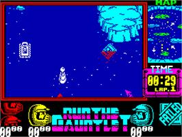 In game image of Run the Gauntlet on the Sinclair ZX Spectrum.