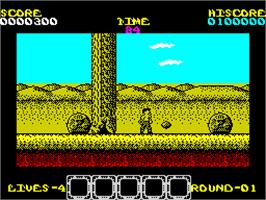 In game image of Rygar on the Sinclair ZX Spectrum.