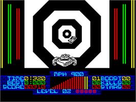 In game image of S.T.U.N. Runner on the Sinclair ZX Spectrum.