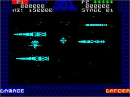 In game image of SDI: Strategic Defense Initiative on the Sinclair ZX Spectrum.