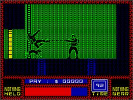 In game image of Saboteur on the Sinclair ZX Spectrum.