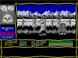 In game image of Samurai Warrior: The Battles of Usagi Yojimbo on the Sinclair ZX Spectrum.