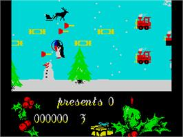 In game image of Santa's Xmas Caper on the Sinclair ZX Spectrum.
