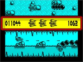 In game image of Sanxion on the Sinclair ZX Spectrum.