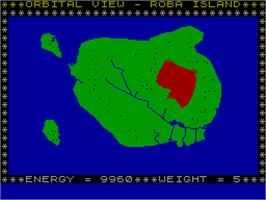 In game image of Savage Island Part One on the Sinclair ZX Spectrum.