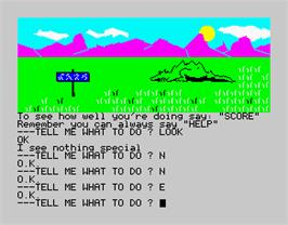 In game image of Scott Adams' Graphic Adventure #1: Adventureland on the Sinclair ZX Spectrum.