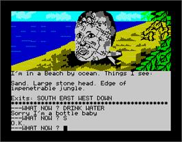 In game image of Scott Adams' Graphic Adventure #10: Savage Island Part One on the Sinclair ZX Spectrum.