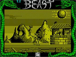 In game image of Shadow of the Beast on the Sinclair ZX Spectrum.