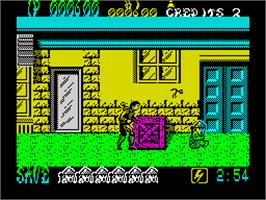 In game image of Shinobi on the Sinclair ZX Spectrum.