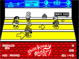 In game image of Shockway Rider on the Sinclair ZX Spectrum.