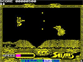 In game image of Side Arms Hyper Dyne on the Sinclair ZX Spectrum.