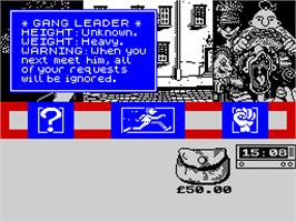 In game image of Sidewalk on the Sinclair ZX Spectrum.