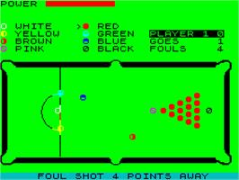In game image of Snooker on the Sinclair ZX Spectrum.