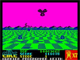 In game image of Space Harrier on the Sinclair ZX Spectrum.
