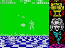 In game image of Space Harrier II on the Sinclair ZX Spectrum.