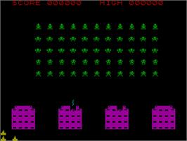 In game image of Space Intruders on the Sinclair ZX Spectrum.