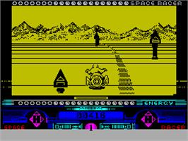 In game image of Space Racer on the Sinclair ZX Spectrum.