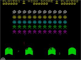 In game image of Spectral Invaders on the Sinclair ZX Spectrum.