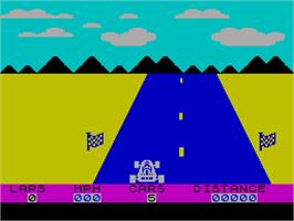 In game image of Speed Duel on the Sinclair ZX Spectrum.