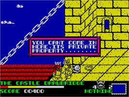 In game image of Spike in Transilvania on the Sinclair ZX Spectrum.