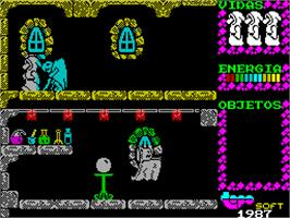 In game image of Spirits on the Sinclair ZX Spectrum.