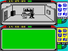 In game image of Spy vs. Spy: The Island Caper on the Sinclair ZX Spectrum.