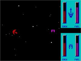 In game image of Star Control on the Sinclair ZX Spectrum.