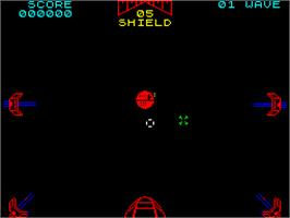 In game image of Star Wars: The Empire Strikes Back on the Sinclair ZX Spectrum.