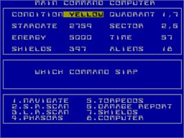In game image of Starship Enterprise on the Sinclair ZX Spectrum.