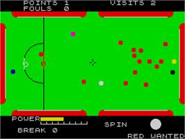 In game image of Steve Davis Snooker on the Sinclair ZX Spectrum.