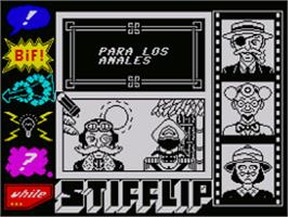 In game image of Stifflip & Co. on the Sinclair ZX Spectrum.
