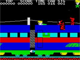 In game image of Stop the Express on the Sinclair ZX Spectrum.
