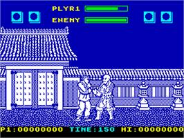 In game image of Street Fighter II on the Sinclair ZX Spectrum.