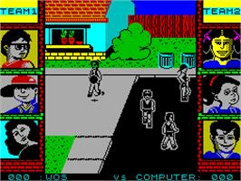 In game image of Street Sports Basketball on the Sinclair ZX Spectrum.