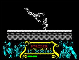 In game image of Strider on the Sinclair ZX Spectrum.