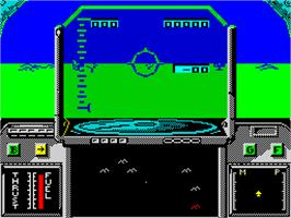 In game image of Strike Force Harrier on the Sinclair ZX Spectrum.