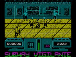 In game image of Subway Vigilante on the Sinclair ZX Spectrum.